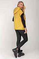 Стеганая женская жилетка из плащевки, цвет горчица, большого размера от 46 до 56, фото 3