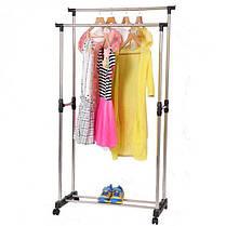 Двойная телескопическая вешалка стойка для одежды напольная Mini Double Pole, фото 2
