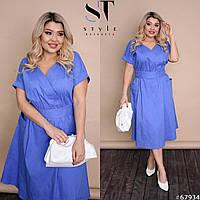 Женское льняное платье миди 48-58