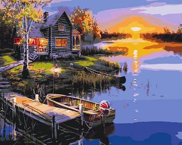 Картини за номерами 40х50 см Brushme Дім біля озера (BS 51375)