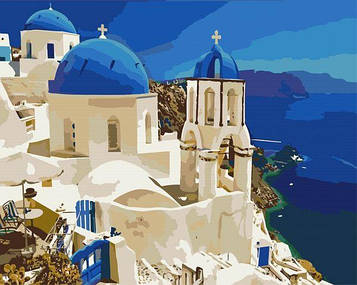 Картины по номерам 40х50 см Brushme Вид на Санторини (BS 6957)