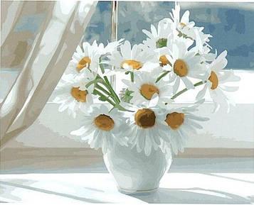 Картины по номерам 40х50 см Brushme Ромашки в белой вазе на окне (GX 22637)