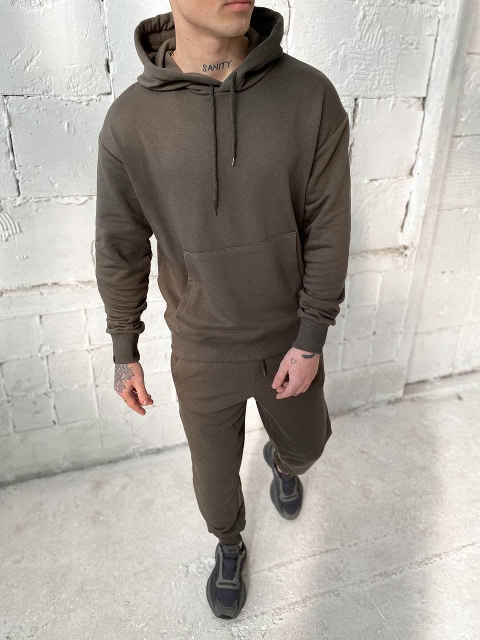 Чоловічий спортивний костюм c капюшоном хакі