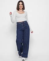 Модные джинсы кюлоты женские синие широкие от бедра