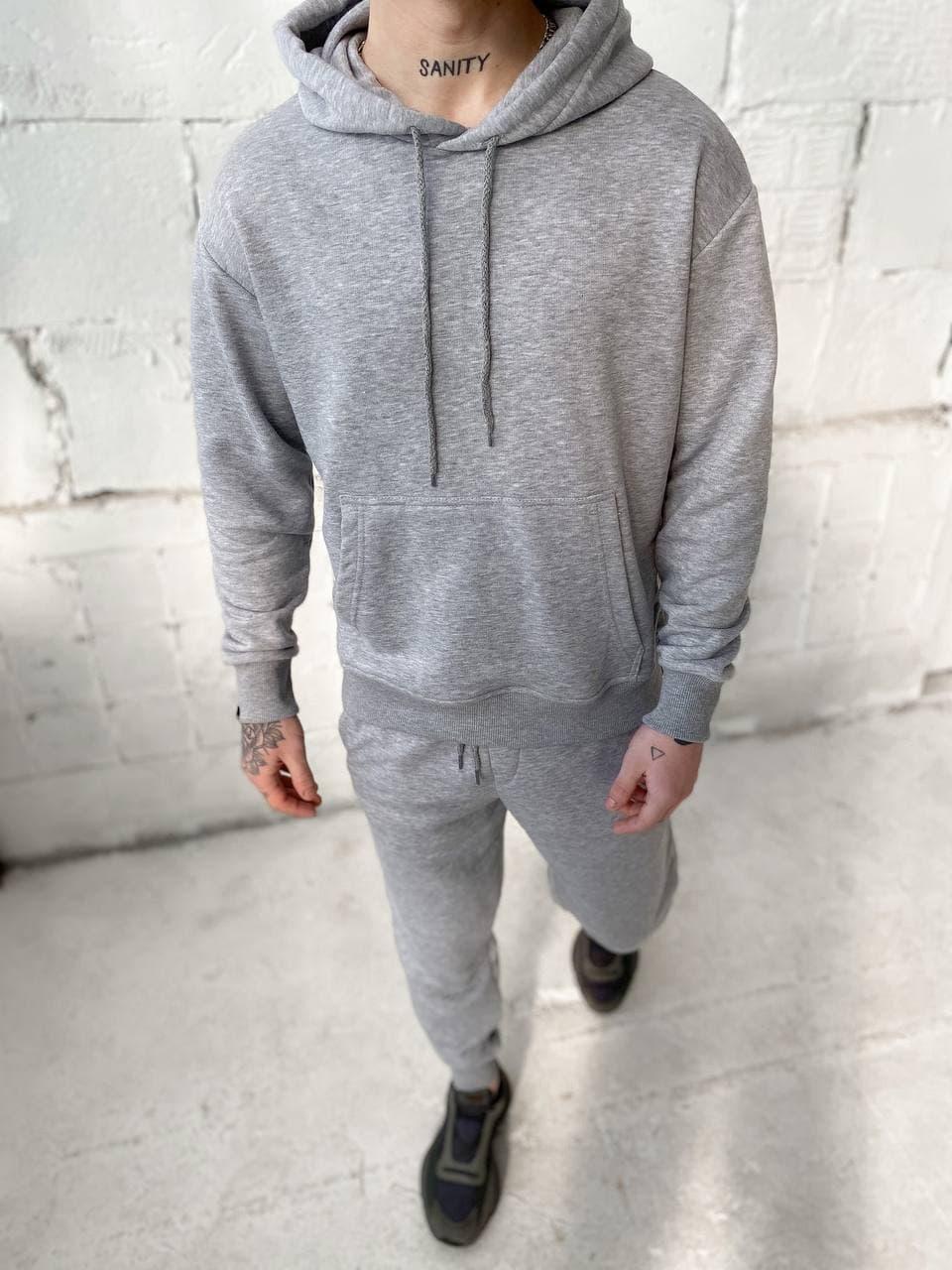 Мужской спортивный костюм c капюшоном серый