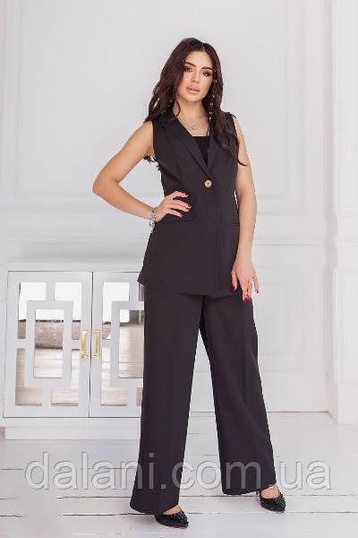 Брючний жіночий чорний костюм з жилета і брюк-палаццо
