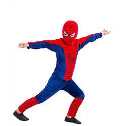 Детский карнавальный костюм ЧЕЛОВЕК ПАУК (велюр) на 3,4,5,6,7,8 лет, детский новогодний костюм СПАЙДЕРМЕНА