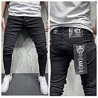 Однотонные мужские джинсы Skinny черного цвета(черные) зауженные, модные турецкие штаны узкачи Slim 2yPremium