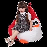 """Дитяче безкаркасне крісло-груша """"Пінгвін"""" 90х60 (червоний/білий) Oxford 600 Den"""