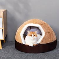 Домик лежак меховой трансформе бежевый для котов собак