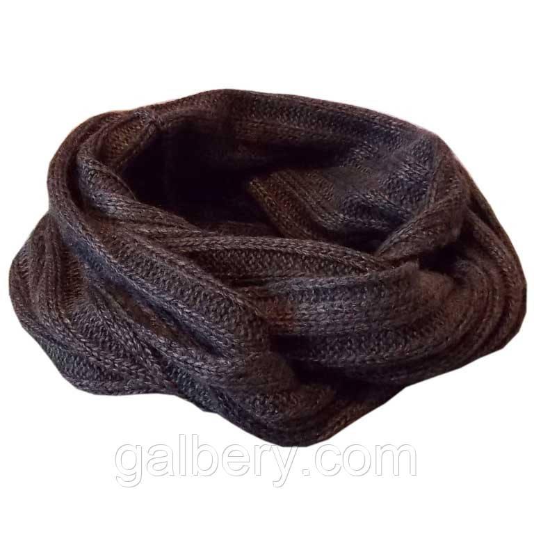 В'язаний зимовий шарф - снуд темно - сірого кольору