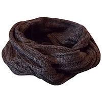 Вязаный зимний шарф-снуд темно-серого цвета