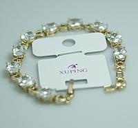 Сияющий женский браслет на руку с круглыми кристаллами в стразах. Вечерние украшения с позолотой оптом. 45