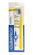 Набор Curaprox Superduo 5460 желто-синяя щетка + 3 ершика CPS 06, 07, 08 и держатель Курапрокс Супердуо
