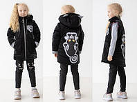 Весенняя светоотражающая куртка-жилетка для девочек Нюся, рост 104,110,116,122,128,134,140,146 черная