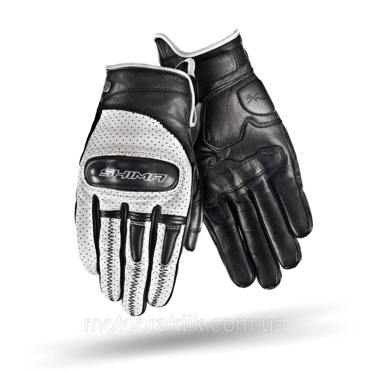 SHIMA CALIBER Gloves Black/White, S Мото рукавички літні шкіряні із захистом