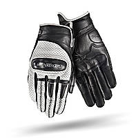 SHIMA CALIBER Gloves Black/White, S Мото рукавички літні шкіряні із захистом, фото 1