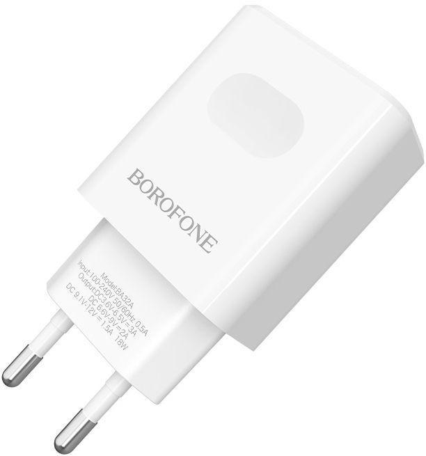 Сетевое зарядное устройство с поддержкой Quick Charge 3.0 Borofone BA32A Bright Power 18W 3A White