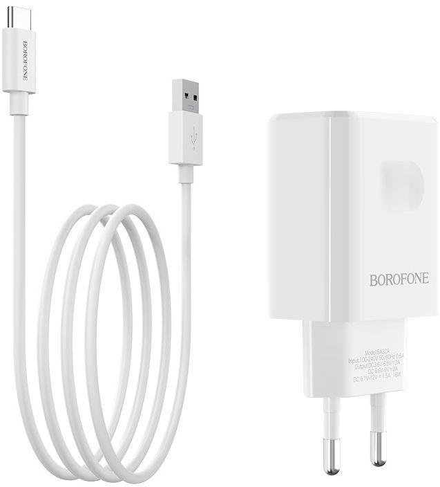 Мережевий зарядний пристрій з підтримкою Quick Charge 3.0 Borofone BA32A Bright Power + USB Type-C Cable White