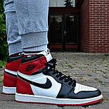 Кроссовки мужские Nike Air Jordan 1 Retro High 'Red&White черно-белые осень-весна. Живое фото. Реплика, фото 2