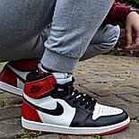 Кроссовки мужские Nike Air Jordan 1 Retro High 'Red&White черно-белые осень-весна. Живое фото. Реплика, фото 3