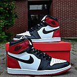 Кросівки чоловічі Nike Air Jordan 1 Retro High 'Red&White-чорно-білі осінь-весна. Живе фото. Репліка, фото 4