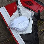 Кроссовки мужские Nike Air Jordan 1 Retro High 'Red&White черно-белые осень-весна. Живое фото. Реплика, фото 5