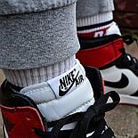 Кроссовки мужские Nike Air Jordan 1 Retro High 'Red&White черно-белые осень-весна. Живое фото. Реплика, фото 6