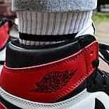 Кроссовки мужские Nike Air Jordan 1 Retro High 'Red&White черно-белые осень-весна. Живое фото. Реплика, фото 7