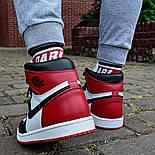 Кроссовки мужские Nike Air Jordan 1 Retro High 'Red&White черно-белые осень-весна. Живое фото. Реплика, фото 8