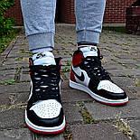 Кроссовки мужские Nike Air Jordan 1 Retro High 'Red&White черно-белые осень-весна. Живое фото. Реплика, фото 9