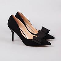 Туфли-лодочки замша черные с бантом