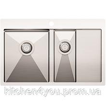 Кухонна мийка з нержавіючої сталі 780x500 мм. AquaSanita LUN151N-L ліва, 2 чаші