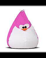 """Дитяче безкаркасне крісло-груша """"Пінгвін"""" 90х60 (рожевий/білий) Oxford 600 Den"""