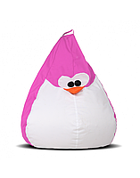 """Великий крісло-мішок """"Пінгвін"""" 130х90 (рожевий/білий) Oxford 600 Den"""