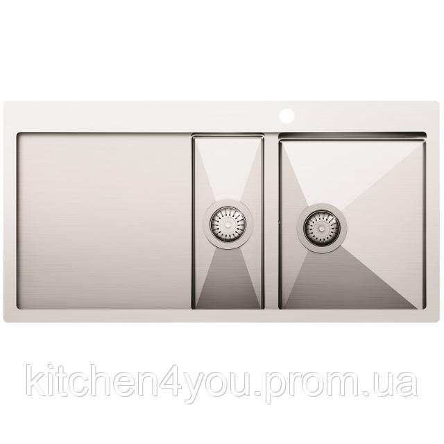 Кухонная мойка из нержавеющей стали 1000x510 мм. AquaSanita LUN151M-R правая, 2 чаши