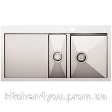 Кухонна мийка з нержавіючої сталі 1000x510 мм. AquaSanita LUN151M-R права, 2 чаші