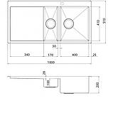 Кухонна мийка з нержавіючої сталі 1000x510 мм. AquaSanita LUN151M-R права, 2 чаші, фото 2