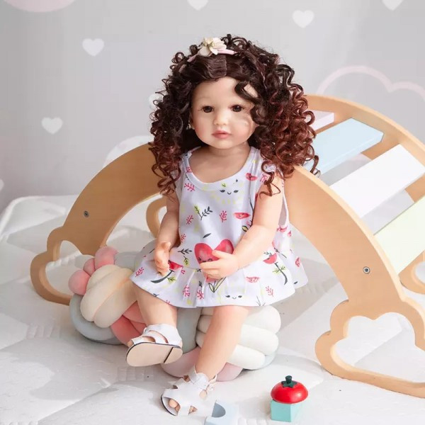 Силіконова колекційна Лялька Реборн Reborn дівчинка Діна Вінілова Лялька Висота 55 См (228)