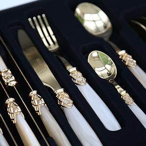 Набор столовых приборов 24 предмета FRANCE GOLD CHAMPAGNE PEARL