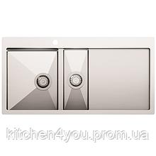 Кухонна мийка з нержавіючої сталі 1000x510 мм. AquaSanita LUN151M-L ліва, 2 чаші