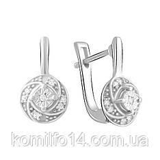 Серебряные серьги с натуральными бриллиантами