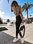 Женский спортивный костюм, микродайвинг, р-р 42-44; 44-46 (чёрный), фото 6