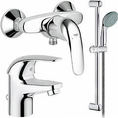 Набор смесителей Grohe Euroeco 123232 умыв,душ,стойка