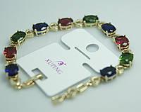 Эффектный браслет на руку с цветными кристаллами в стразах. Женская позолоченная бижутерия Xuping оптом. 47