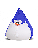 """Дитяче безкаркасне крісло-груша """"Пінгвін"""" 90х60 (синій/білий) Oxford 600 Den"""