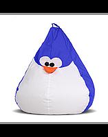 """Безкаркасне крісло-груша """"Пінгвін"""" 100х80 (синій/білий) Oxford 600 Den"""