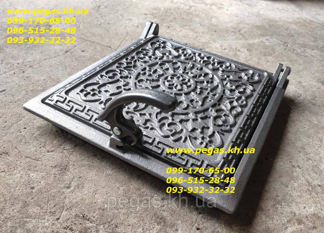 Дверцята чавунна (240х260 мм) грубу, барбекю, печі, мангал, чавунне литво