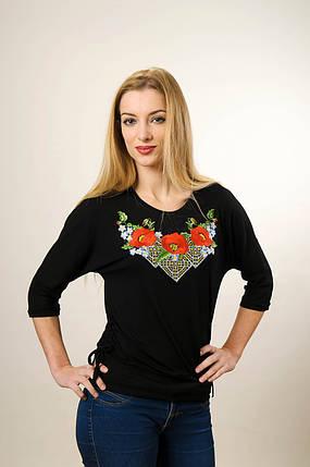 Молодежная вышитая футболка с рукавом 3/4 черного цвета с цветочным орнаментом «Чудо маки», фото 2