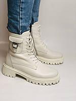 Женские весенние ботинки из натуральной кожи молочного цвета на низкой подошве. Р 36.37.38.39.40, фото 8